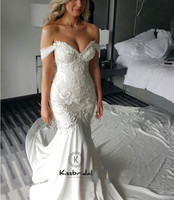 Newest Mermaid Wedding Dresses 2019 Sexy V neck Off the Short White Wedding Bridal Gown