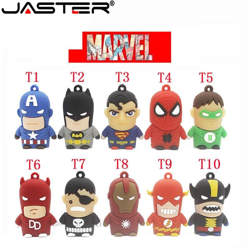 JASTER Super Man USB Flash Drive Spider Man Batman Captain America Pendrive 4gb 8gb 16gb 32gb 64GB Memory Stick Pen Drive Gifts