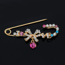 Hot Sale High Quality Crystal Fashion Rhinestone Colours Bow Brooches For Clothes Acessories For Women & Gift