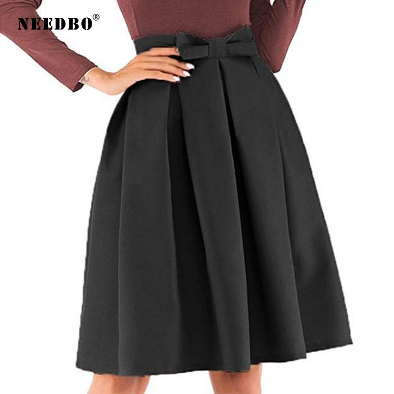 NEEDBO Mini Skirt Plus Size Vintage Solid Ball Gown Skirt Women High-waisted Pleated Skirts Office Workwear Bow Party Skirt