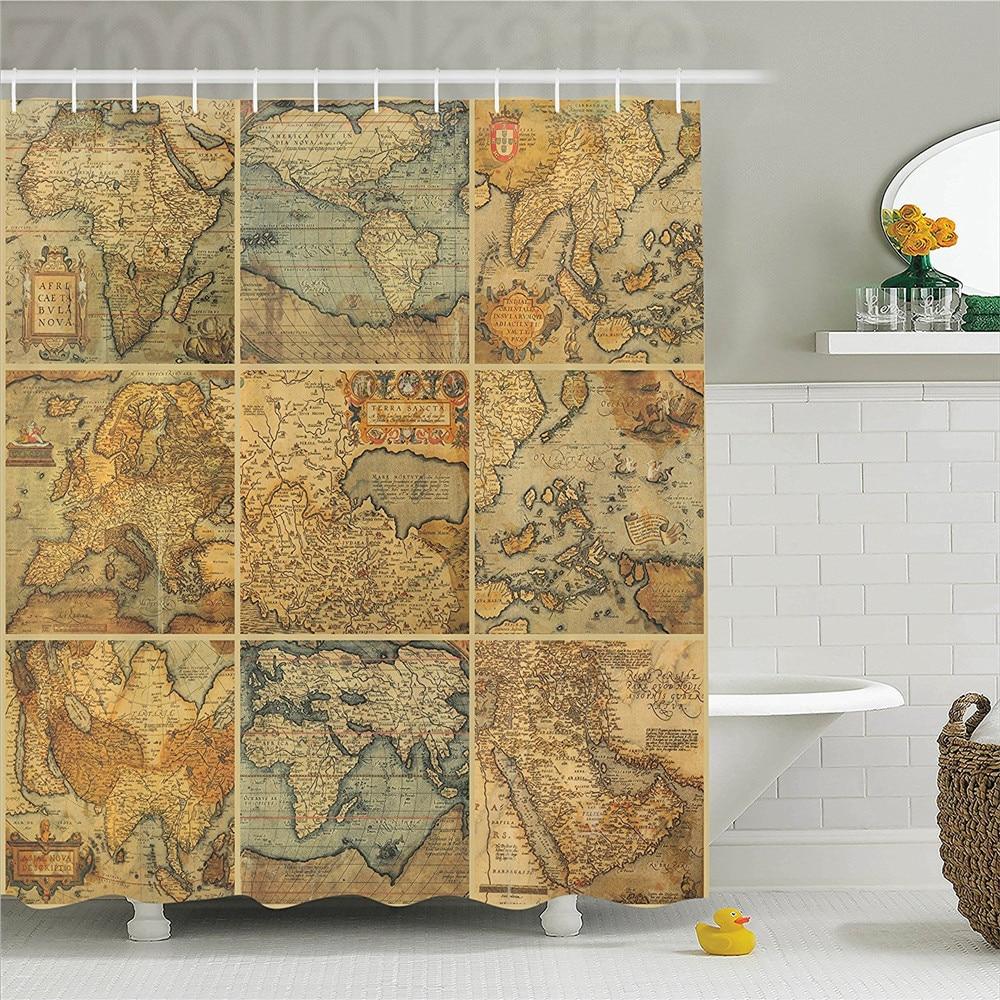 The World Map Globe Painting Fabric Shower Curtain Digital Art Bathroom