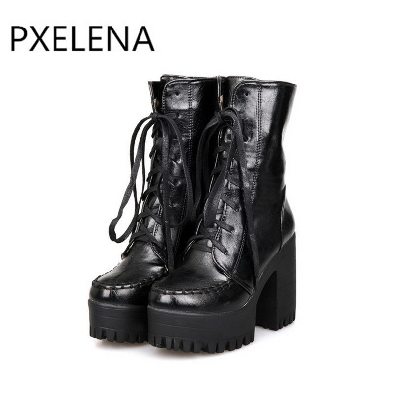 PXELENA Retro Punk Rock Gothic Platform Chunky Block High Heels Ankle Boots  Women Shoes Lace Up Knight Riding Boots Black Brown-in Ankle Boots from  Shoes on ... 95cf954667e2