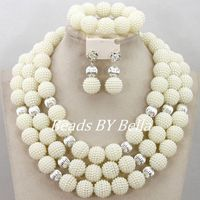Fashion African Beads Silver Plated Balls Necklace Set White Popular Women Wedding Party Jewelry Sets Free Shipping ABY393