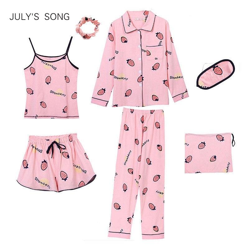 JULY'S SONG Cotton 7 Pieces Pajamas Sets Women  Pajamas Sleepwear Sets Spring Summer Autumn Casual Comfortable Womens Homewear