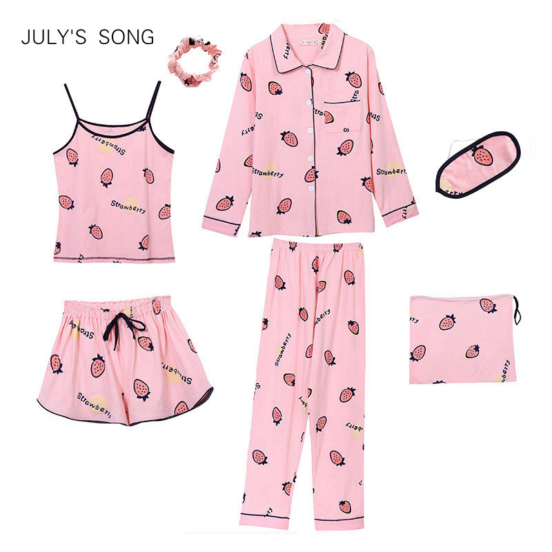 JULY'S SONG Cotton 7 Pieces   Pajamas     Sets   Women   Pajamas   Sleepwear   Sets   Spring Summer Autumn Casual Comfortable Womens Homewear