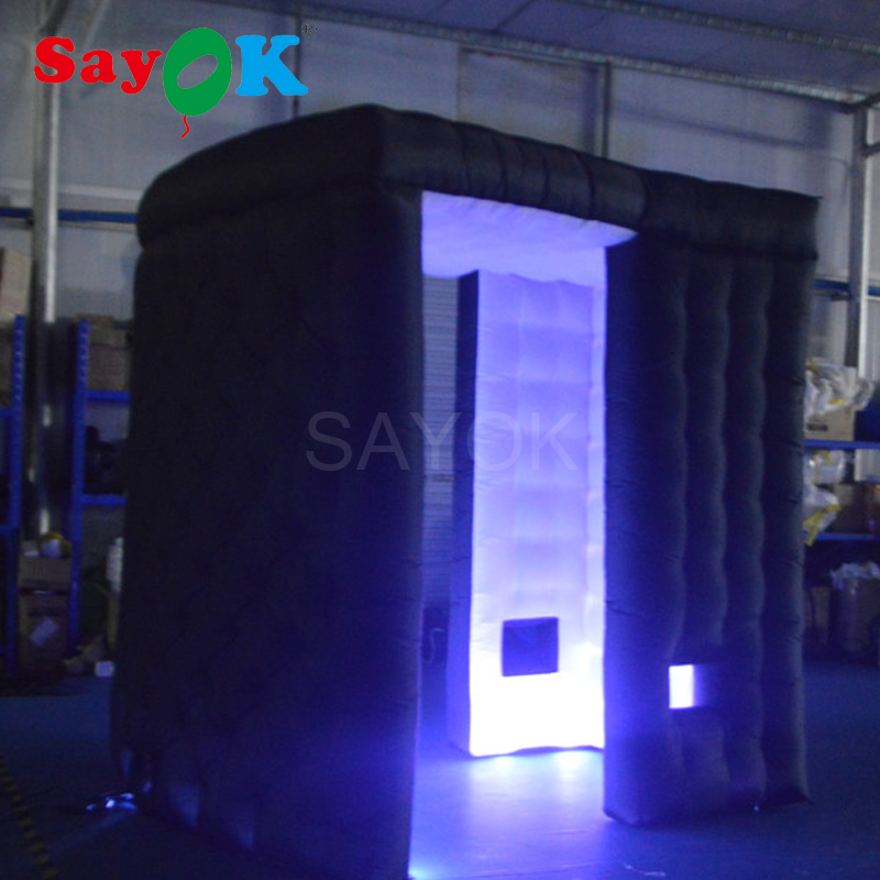 Sayok 2.4M 2 Door Cambered Inflatable Photo Booth Frame with LED Light Black Outside and White Inside for Wedding Party Rental