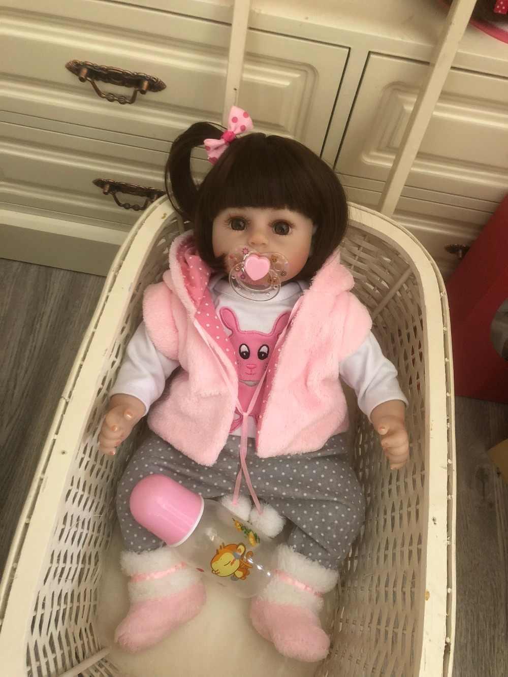 48CM bebe muñeca bebé muñeca hecha a mano de silicona adorable renace niño metoo chica chico Niña de la muñeca de silicona sorpresa