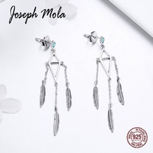 Joseph Mola 925 Sterling Silver Fine Jewelry Elegant Long Feathers Drop Earrings for Women Party Dating Wedding Birthday Gift