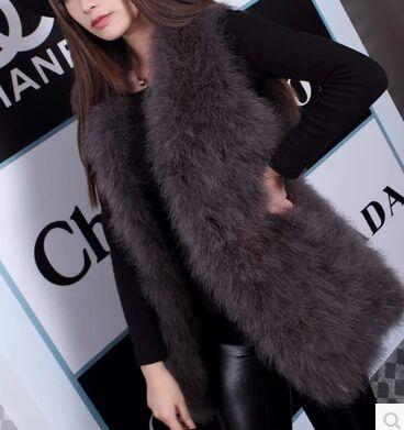 Новое поступление Винтажный стиль настоящий вязаный жилет из меха страуса жилет из натурального меха - Цвет: smoky grey