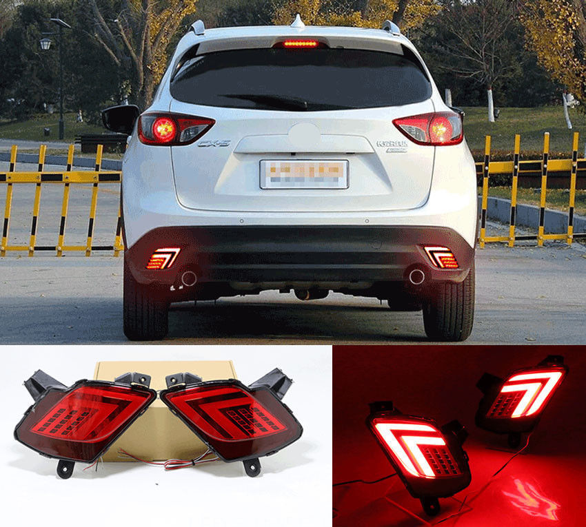 2013 2015 Mazda Cx5 Cx 5 Performance Led Tail Lights: Red LED Rear Fog Light Tail Bumper Lamps Kits Fit For
