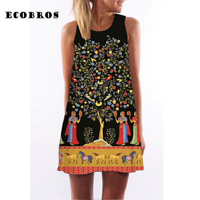 ECOBROS 2017 New Women Summer Dress casual sleeveless Loose floral print mini dresses plus size woman clothing dress