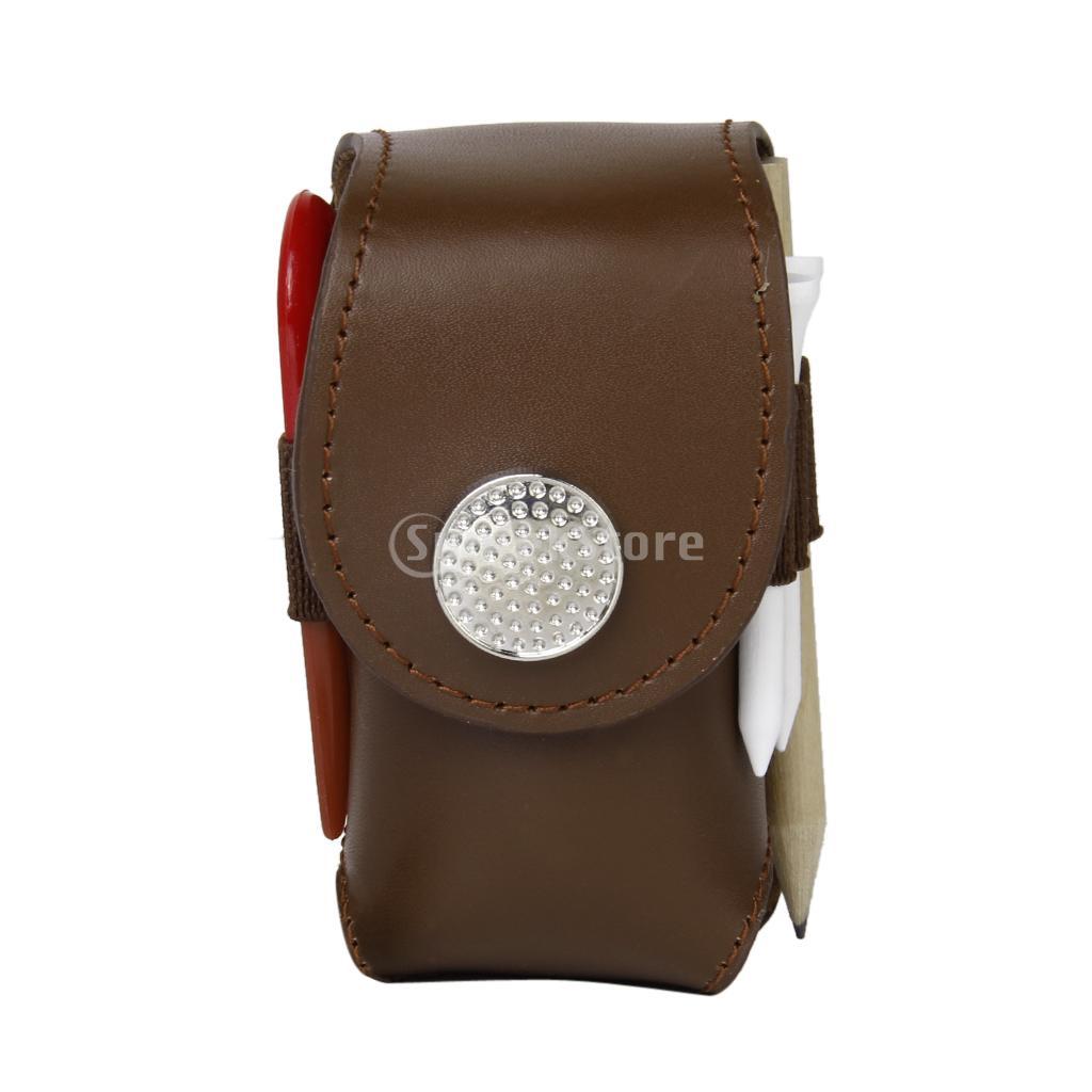 Prix pour Mini Portable En Cuir Clip Sur Balle De Golf Porte-Poche Sac Tenir 2 Boules Golfeur Aide D'outils Cadeau Brun