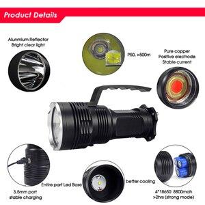 Image 5 - סופר מואר LED פנס XHP50 USB נטענת חזק Portabl אור LED זרקור פלאש אור מנורה על ידי 4*18650 סוללה