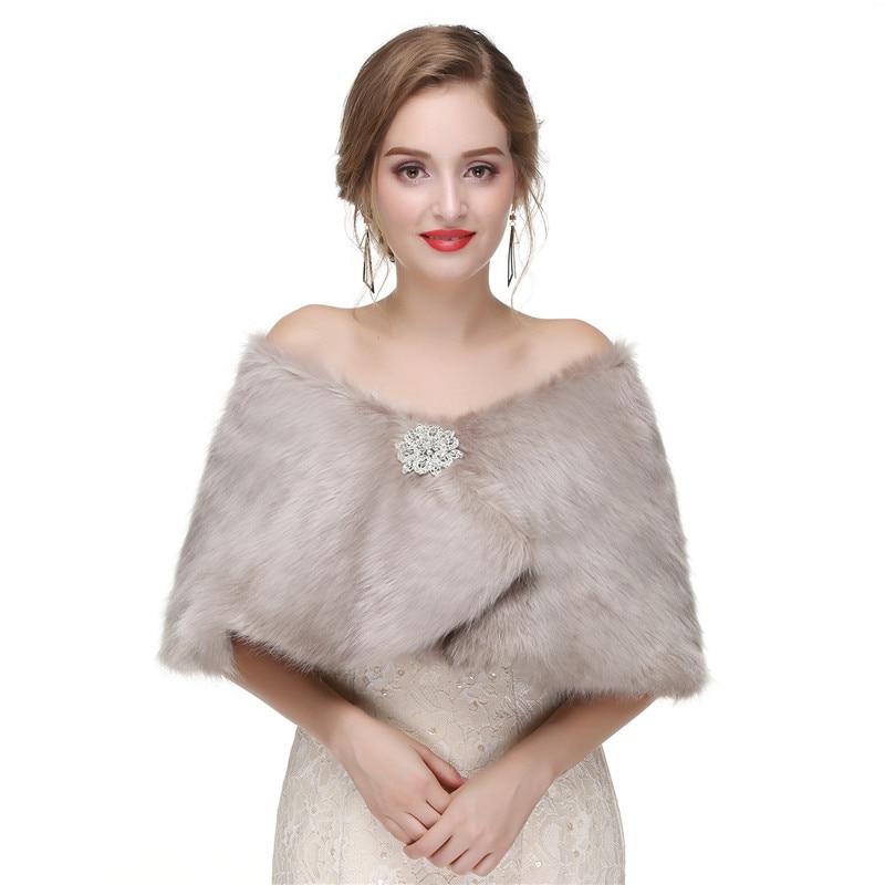 Mingli Tengda Winter Faux Fur Shawl Coat Boleros Jacket Wedding Warm Elegant Bride Wraps Cape Bridal