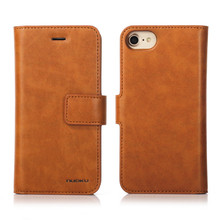 Nuoku brand 2 in 1 Vintage Wallet Case for iPhone 6 6S 7 Leather Cover Zipper Handbag Card Holder Retro Phone Cases for iPhone 7