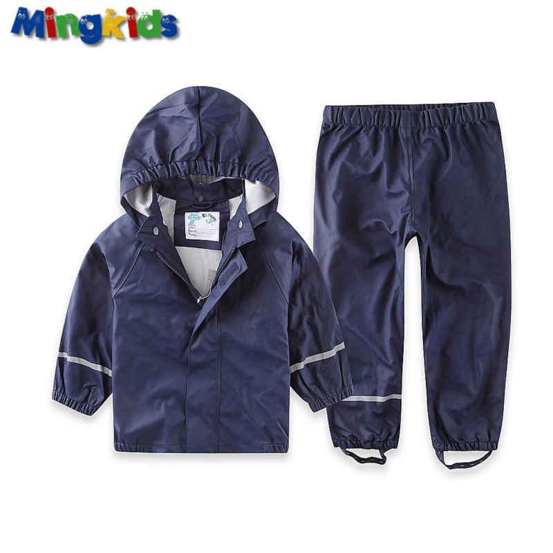 ใหม่ส่งออกยุโรป 2020 เด็กฝนชุดเด็ก PU กันน้ำ Windproof Rain เสื้อแจ็คเก็ตและกางเกงฝนโคลน Rainwear EU 80-116