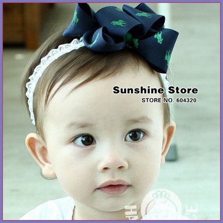 navy satin hair bow headband Infant girls ribbon Printing Knight Layered satin hairbow accessories  #2B2177 10pcs/lot (3 colors)