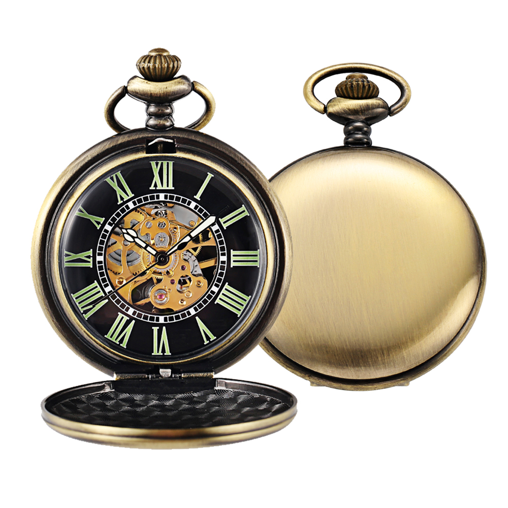 Steampunk Mechanical Pocket Watch Men Retro Pendant Watch Chain Vintage Necklace Mechanical Hand Wind Clock Pocket Watch Gifts 25