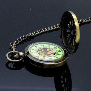 Image 3 - New Luminous Hand Winding Mechanical Pocket Watch Classical Bronze Openwork Pendant Vintage Hollow Cover Analog for Men Gift