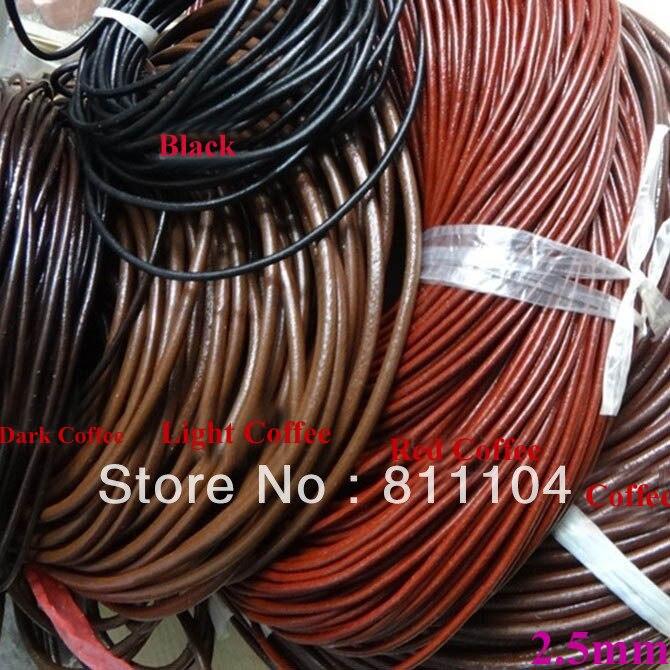 Новинка 2,5 мм Круглый браслет из натуральной кожи, веревочные шнуры, плетёные кольца для ключей, браслет, ремешок для изготовления