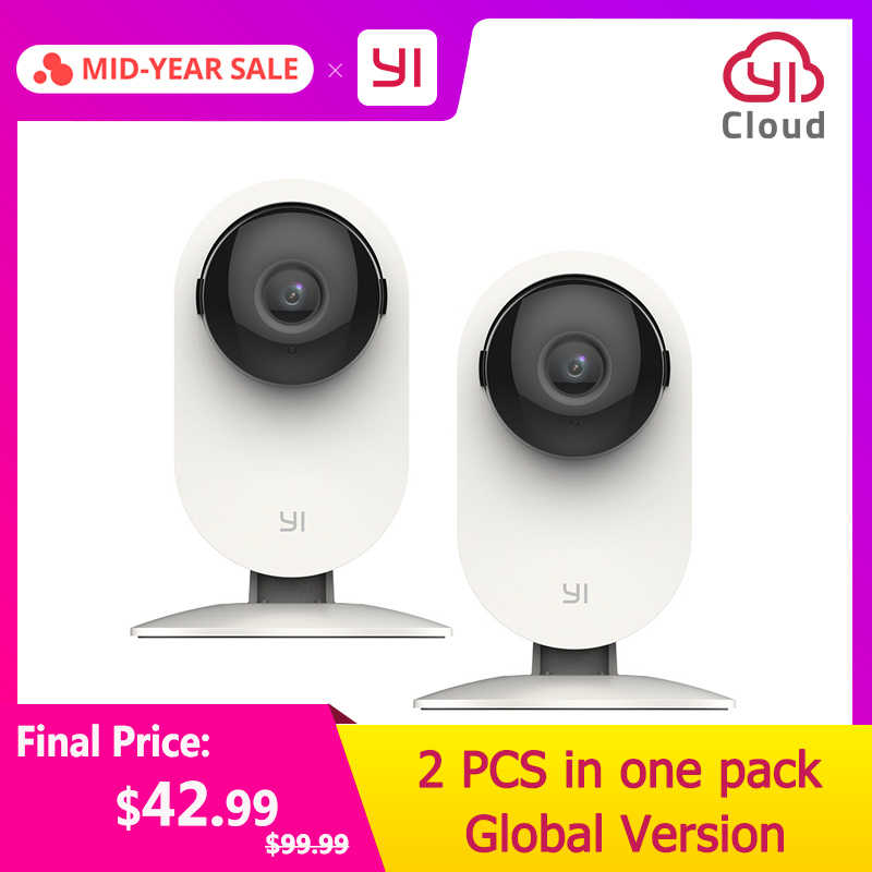 YI Home Camera 720P 2pc Night Vision WIFI Cam IP/Wireless Network Security Surveillance Camera Owl Internation Version YI Cloud