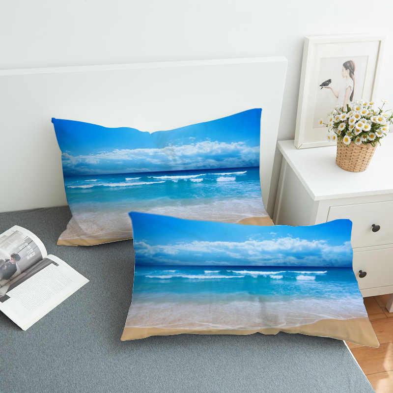 2pcs 3D Pillow Cases Moon And Ocean Bedding Print Pillowcases Cozy Home Textiles Soft Blue Pillow Cover   PC74