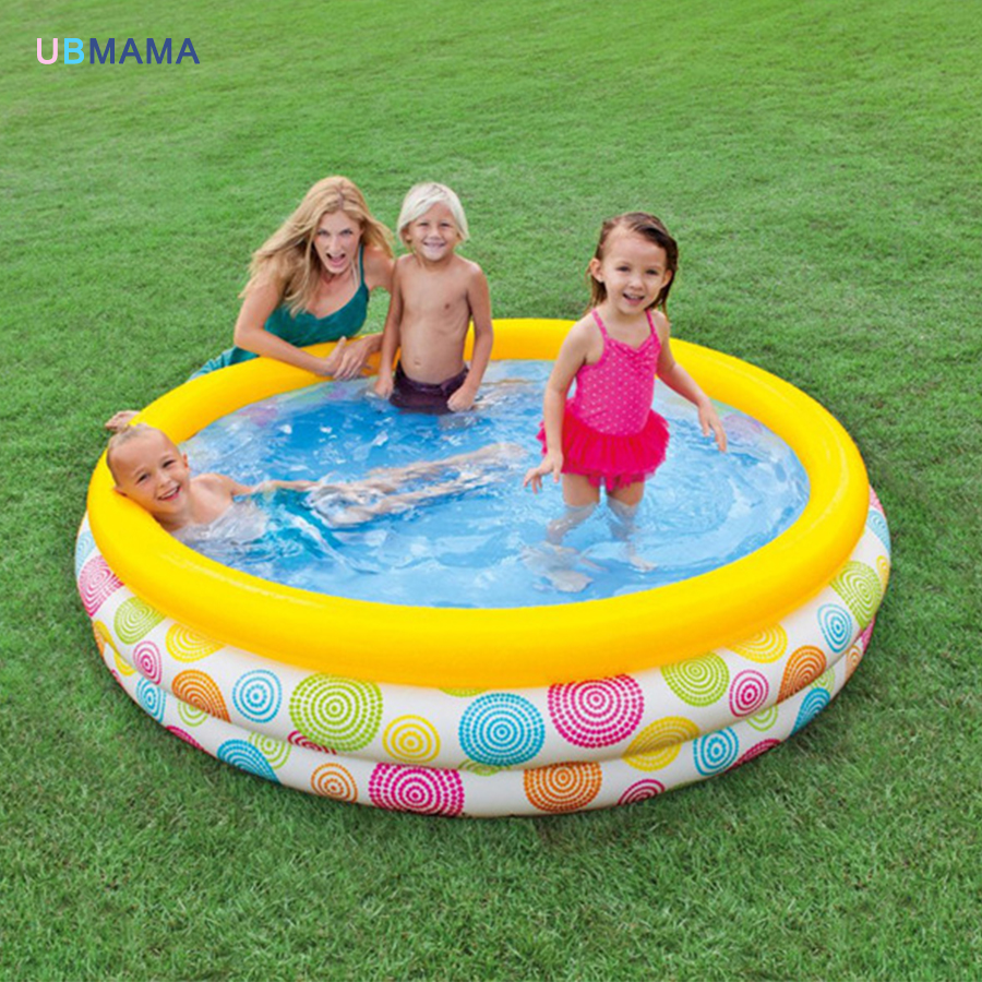 Random geometric pattern three layer plastic inflatable pool family swimming pool sea pool basin 338 167 129cm inflatable inflatable slide pool sea pool pool baby children swimming pool fishing thickening basin