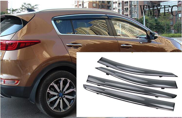 For KIA Sportage Fourth Generation 2016 2017 Window Visor Vent Shades Sun Rain Deflector Guard Protector Covers 4Pcs for bmw x1 x3 x5 x6 2008 2017 window visors awnings shelters rain sun deflector guard vent protector covers 4pcs car accessories