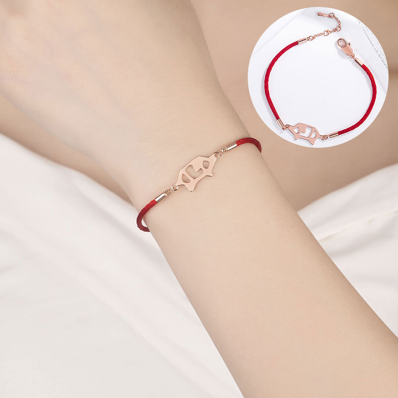 Мода Ткачество Lucky красная веревочная цепь браслет регулируемый плетеный свиной