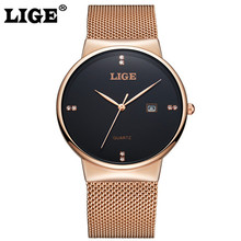 LIGE Men's Watches New Luxury Brand Watch Men Fashion Sports Quartz-Watch Stainless Steel Wristwatch Ultra Thin Dial Date Clock delevan luxury watch men brand men s watches ultra thin stainless steel mesh band quartz wristwatch fashion casual watch 1128