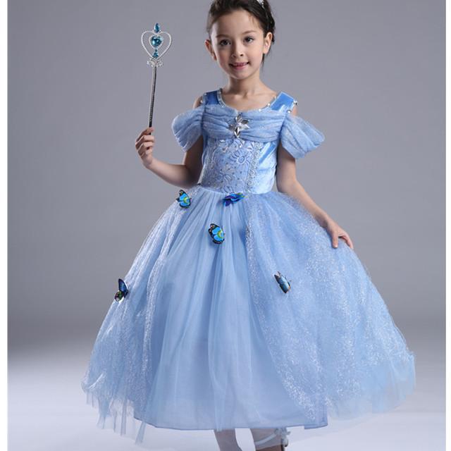 Girls Cinderella Dress up Costume 10 Butterflies Kids Sleeveless Princess Party Dresses for Halloween Birthday Pageant