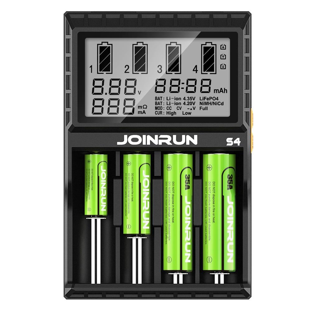 Joinrun S4 Pantalla LCD cargador de batería Inteligente li-ion 18650 14500 16340 26650 AAA AA DC 12 V Cargador de Batería Inteligente