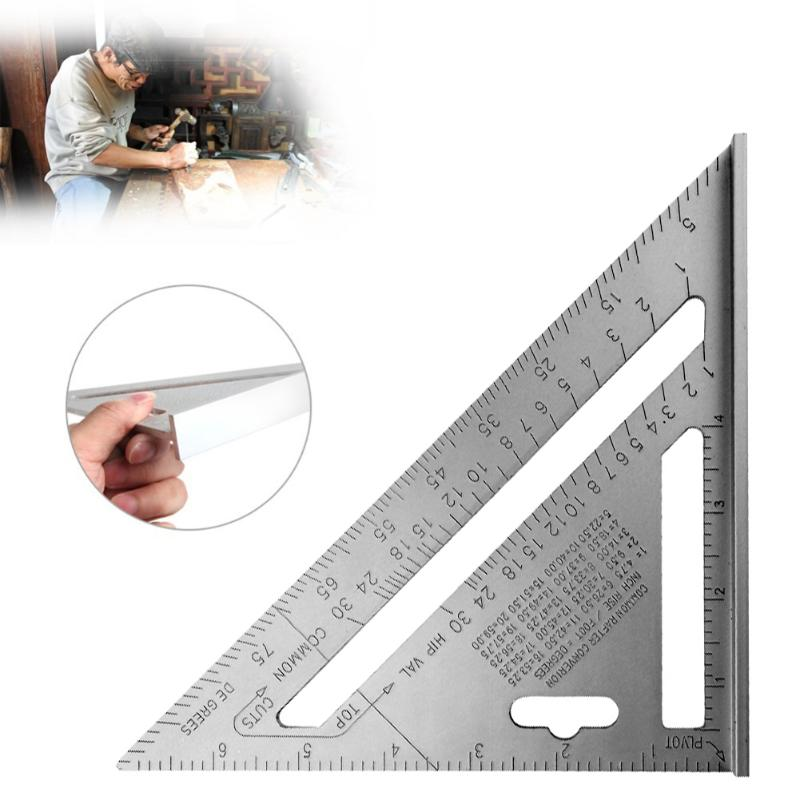 7inch Silver Aluminum Alloy Speed Square Roofing Triangle Angle Protractor Carpenter's Measuring Layout Tool Measuring Ruler
