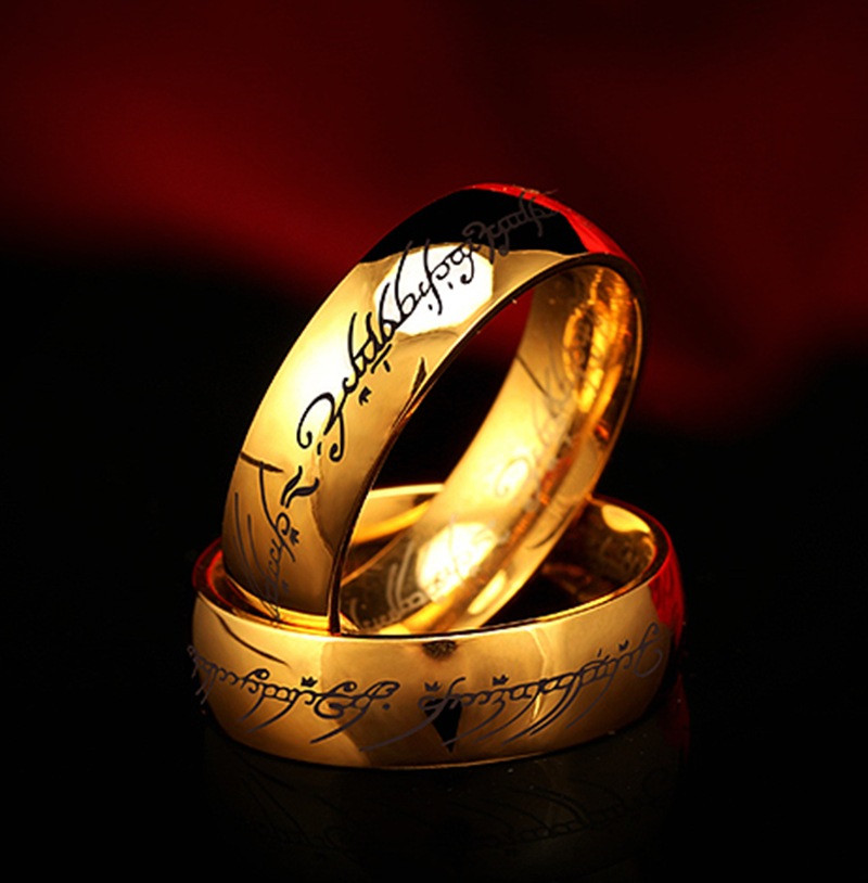 Adjust Stainless Steel One Ring of Power Gold the Lord of Ring Lovers Women Men Fashion Jewelry