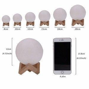 Image 5 - 3D ירח מנורת מגע חיישן/שלט רחוק חידוש LED לילה אור Luminaria Lua 3D ירח אור עבור תינוק ילדים שינה בית תפאורה