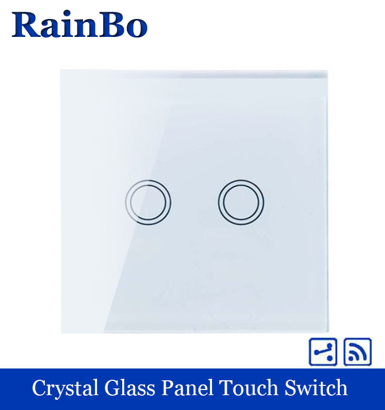 rainbo Wall Light Switch Remote Touch Switch Screen Crystal Glass Panel wall switch EU Remote 110~250V 2gang2way A1924XW/B crystal glass panel touch light wall switch 2 gang with remote controller black color
