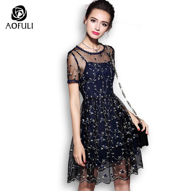 c0eabe003c AOFULI S- Xxxl 4xl 5xl Fashion Embroidery Tulle Dress Summer Short Sleeve  Party Dress Brand New Plus Size Women Sundress 5552