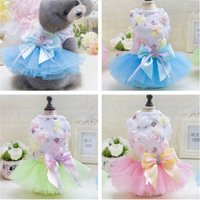 Sweety Summer Small Pet dog Clothes Princess Mini cats Bow Dress Skirt Wedding Dog