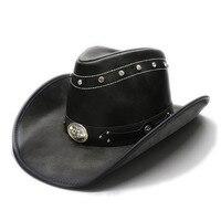 LUCKYLIANJI Men's Women's Retro Vintage Leather Wide Brim Sun Beach Cowboy Cowgirl Western Bull Head Hat (One Size 58cm)