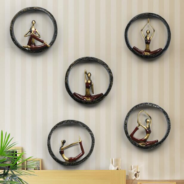 Art abstrait moderne résine Yoga Pose Statue Yoga fille tentures murales/dame sculpture art décor, accessoires de maison modernes, artisanat en résine