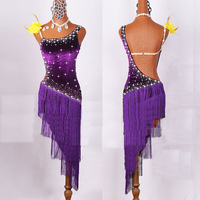 2019 Women Latin Dancing Costumes Lycra Net Top Tassel Skirt Salsa Samba Rumba India Ladies Fringe Latin Dance Dress