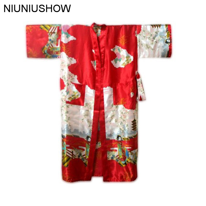 Free Shipping Red Chinese Womens Silk Rayon Robe Kimono Bath Gown Nightgown Size S M L XL XXL XXXL W4S004
