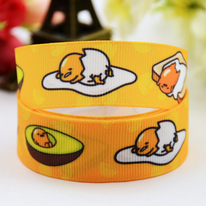 7/8 (22mm) Ruban satin Gudetama tape cartoon Printed Grosgrain Ribbon DIY sewing supplies Bow hair accessories X-00877 10Y