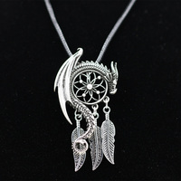 1pcs Dream Guardian Dream Catcher Pendant Necklace Feather Tassel Boho Bohemian Women Necklace Choker Jewelry Viking