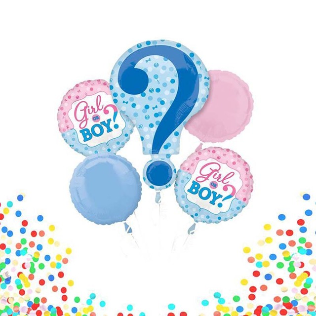 5 Pcslot Pink Blue New Symbol Question Mark Balloon Baby Gender
