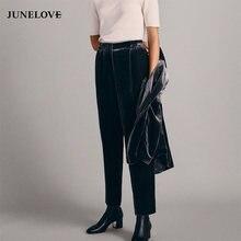 4b9510f35e17d JuneLove 2019 Fashion Vintage Velvet Pants Women Winter Loose Harem Pants  High Waist Trousers High Street Style Pants Bottoms