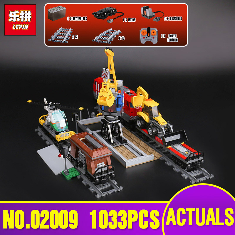 Lepin 02009 Genuine City Series 1033Pcs The Heavy-haul Train Set 60098 Building Blocks Bricks Educational Toys Model Boy`s Gifts