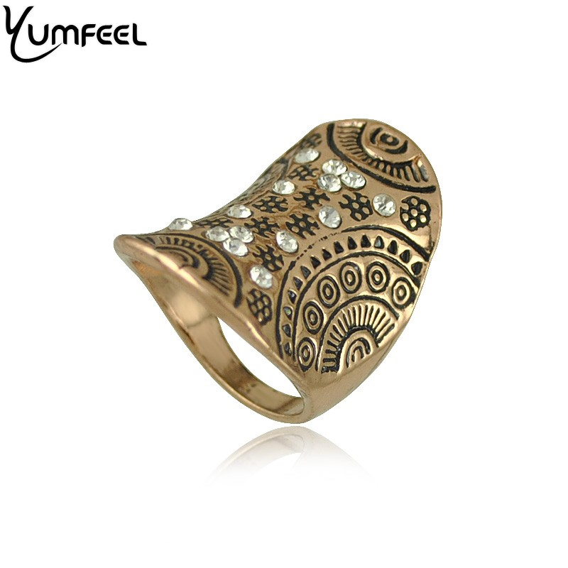 Yumfeel New Fashion Jewelry Rings Metal with Antique Plated Crystal Rings for Woman