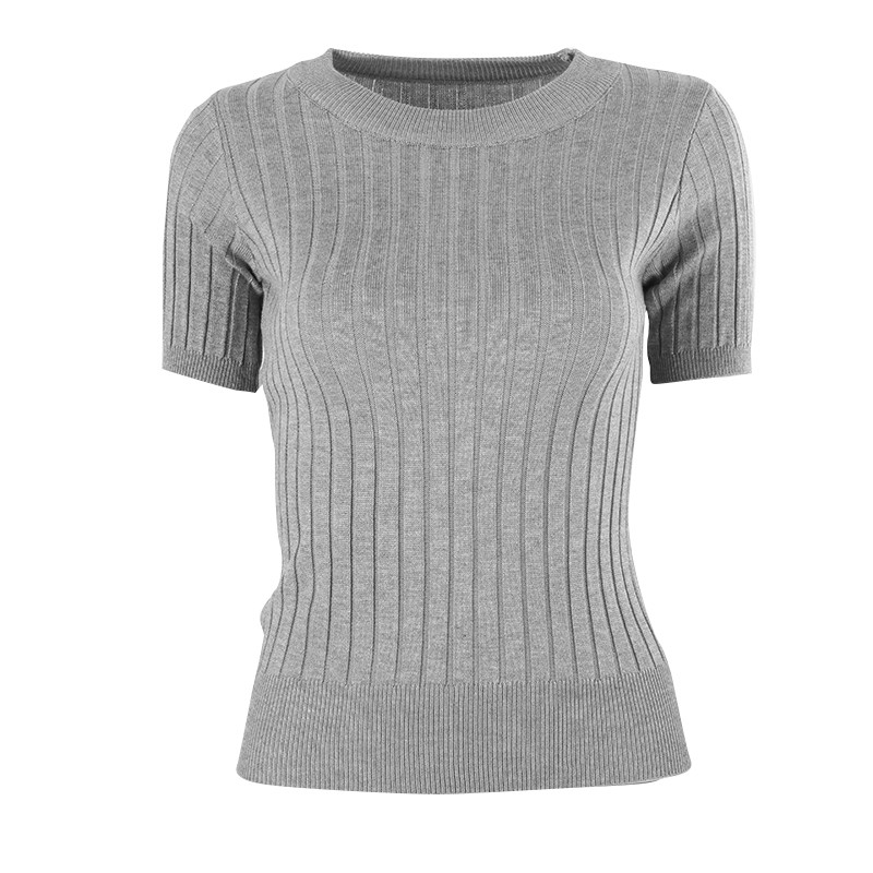 Women Girls Sexy Solid Color Slim Pullover O-Neck Knitted Jersey Shirt Half Sleeve Tops