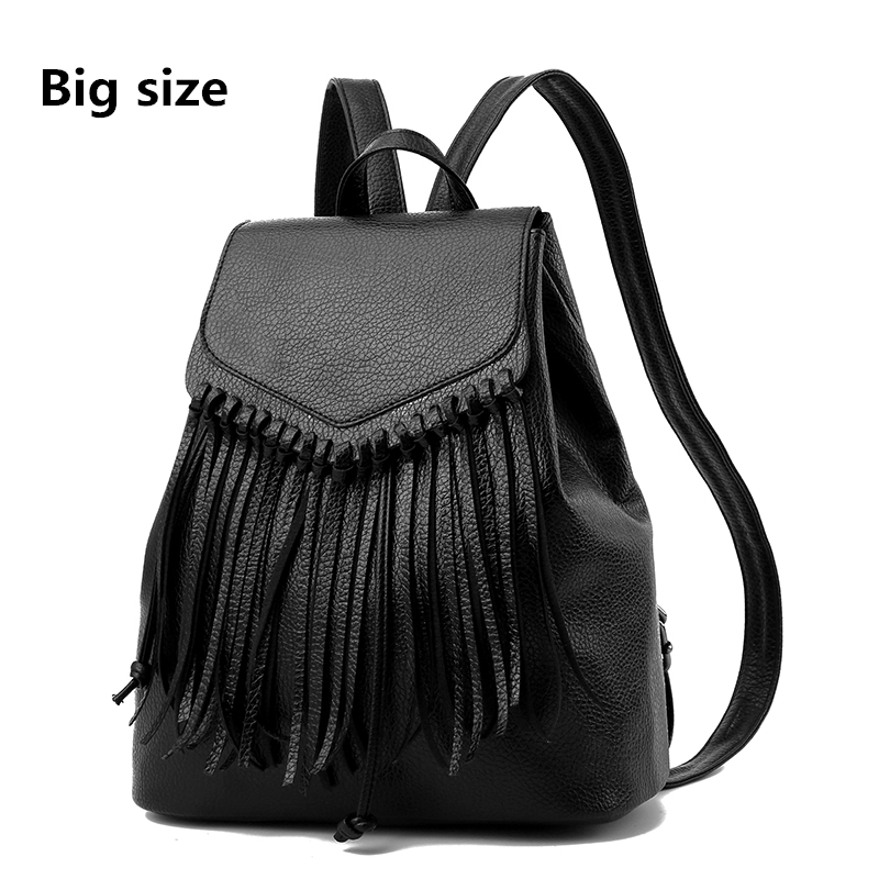 2017 NEW Fashion Women Tassel Backpacks Girls Fashion PU Leather School Bags Travel Backbags Womens Backpack Mochila Feminina